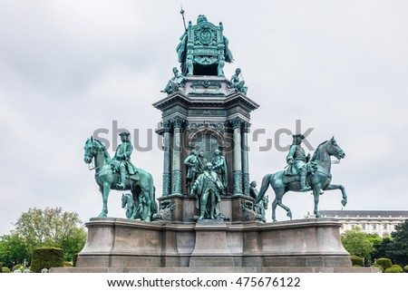 Maria Theresia Monument, in Vienna, Austria. The monument was built by Kaspar von Zumbusch in the year 1888.