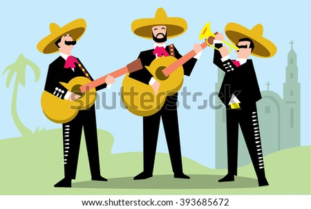 Mariachi Band in Sombrero with Guitar. Mexican Music Band. Raster illustration. The music group in traditional costumes of Mexico. - stock photo
