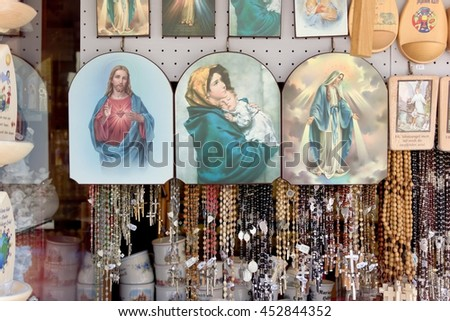 MARIAZELL, AUSTRIA - 29 June 2016: Religious souvenirs are sold around the basilica in Mariazell, Styria, which  is a famous landmark and can be reached via multiple pilgrim routes.