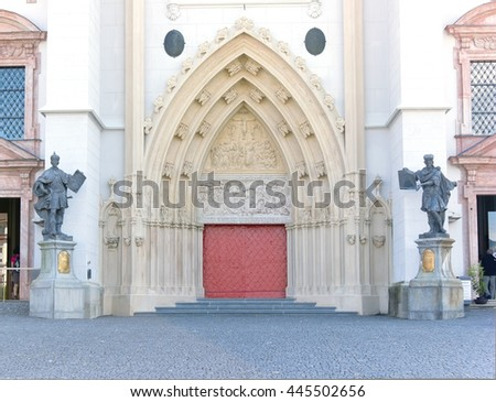 MARIAZELL, AUSTRIA - 29 June 2016: The door of the basilica in Mariazell, which  is a famous landmark in Styria,  can be reached via multiple pilgrim routes.