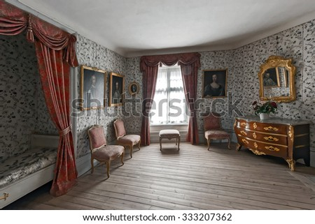 MARIEFRED, SWEDEN - JULY 28, 2015: Bedroom at the Gripsholm castle in the idyllic small town of Mariefred. - stock photo