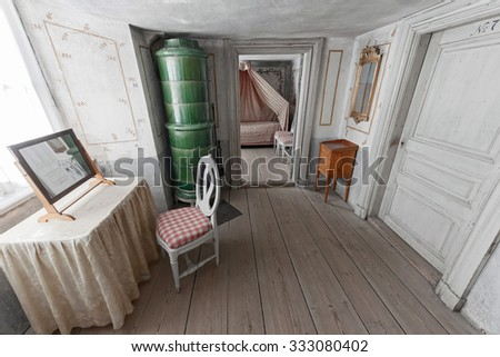 MARIEFRED, SWEDEN - JULY 28, 2015: Indoors with furnitures at the Gripsholm castle in the idyllic small town of Mariefred. - stock photo