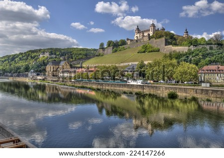 Marienberg Castle across the Main river in Wurzburg, Germany - stock photo