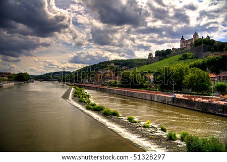 Marienberg Fortress on the hill in Wurzburg, Germany - stock photo
