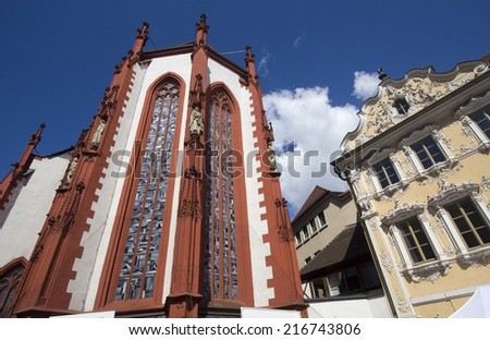 Marienkapelle church and the Falkenhaus building in Wurzburg, Germany - stock photo