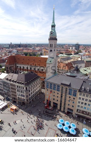 Marienplatz square in Munich (Munchen), Germany. View from New Town Hall (Neues  Rathhaus)