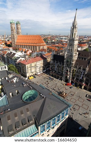 Marienplatz square in Munich (Munchen), Germany. View from sacred Peter's Church