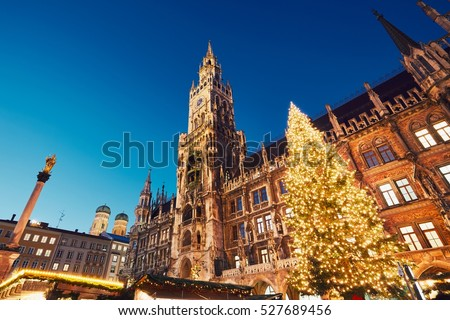 Marienplatz with the Christmas market in Munich, Germany