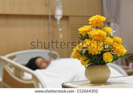 marigold for care in patient room - stock photo
