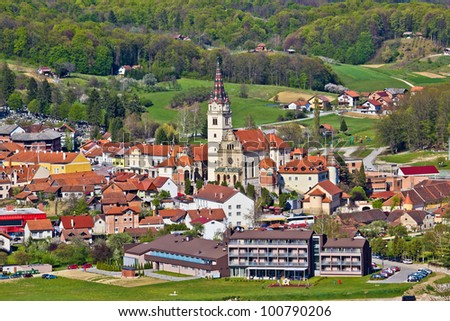 Marija Bistrica church aerial view, Zagorje, Croatia - stock photo