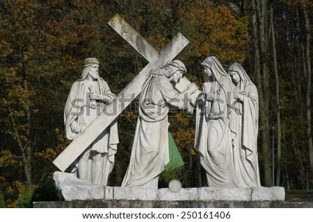 MARIJA BISTRICA, CROATIA - June 29: 4th Stations of the Cross, Jesus meets His Mother,  pilgrimage Sanctuary, Assumption of the Virgin Mary in Marija Bistrica, Croatia, on June 29, 2019 - stock photo