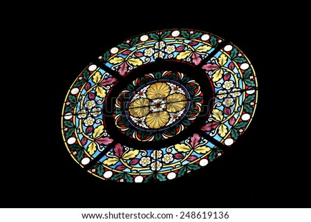 MARIJA BISTRICA, CROATIA - OCTOBER 26: Stained glass window in Basilica Assumption of the Virgin Mary in Marija Bistrica, Croatia, on October 26, 2013 - stock photo