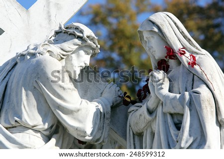 MARIJA BISTRICA, CROATIA - OCTOBER 26: 4th Stations of the Cross, Jesus meets His Mother,  pilgrimage Sanctuary, Assumption of the Virgin Mary in Marija Bistrica, Croatia, on October 26, 2013 - stock photo