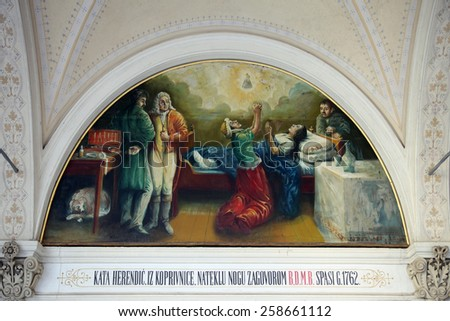 MARIJA BISTRICA, CROATIA - OCTOBER 26: Votive paintings, pilgrimage Sanctuary, Assumption of the Virgin Mary in Marija Bistrica, Croatia, on October 26, 2013 - stock photo