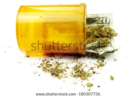 Marijuana and Money, Medical and Recreational Cannabis Business - stock photo