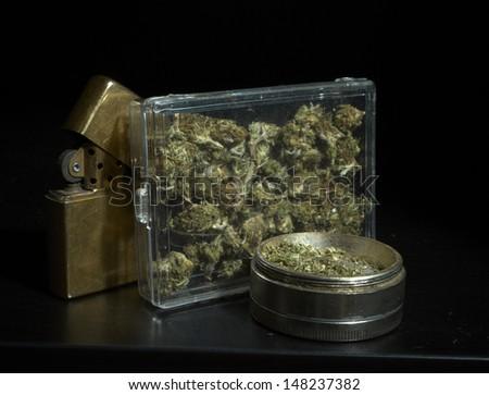 Marijuana Black Background  - stock photo