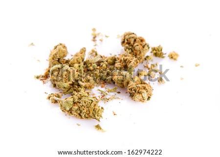 Marijuana cannabis on white background - stock photo