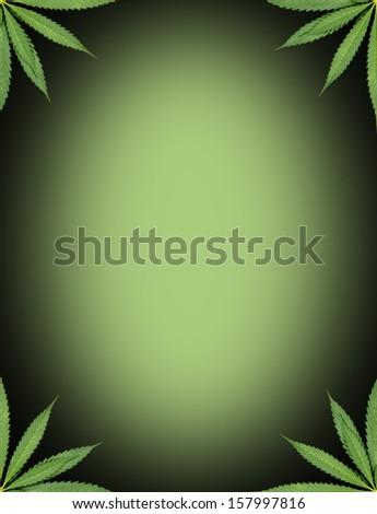 marijuana frame with green background - stock photo
