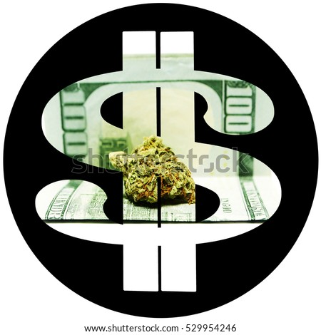 Marijuana $, Weed Pot Cannabis Buds inside of a Dollar Sign Symbol. Marijuana Money Circle Icon