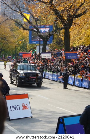 Marilson Gomes dos Santos of Brazil approaches the finish line of the 2006 ING New York City Marathon
