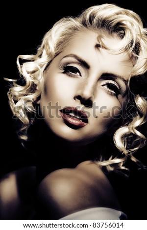 Marilyn Monroe imitation. Retro style - stock photo