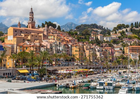 Marina and colorful houses of Menton - small town on French Riviera. - stock photo