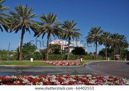 Marina and houses at Port Luyaca, Freeport, Grand Baha Island, Bahamas - stock photo