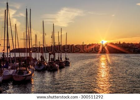 Marina at sunset, White Rock, Surrey, BC, Canada - stock photo