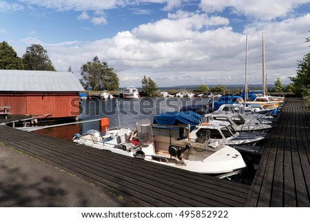 Marina at the Lake Vaettern in Sweden