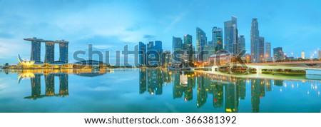 Marina bay of Singapore at the sunset time - stock photo