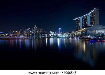 Marina Bay Sands Hotel dominates the skyline at Marina Bay ,singapore - stock photo