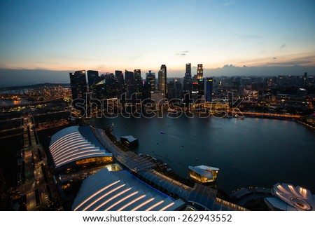 MARINA BAY, SINGAPORE - FEBRUARY 28, 2015: What travelers do not miss when visit to Singapore is watching the city from the top view at the central business area of Singapore.