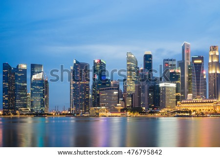 Marina Bay skyline in Singapore at twilight