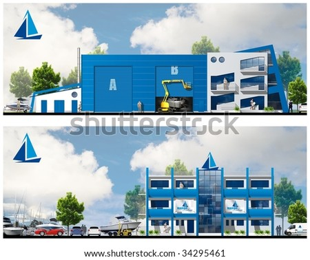 marina building project B - stock photo
