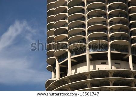 Marina City Tower base in Chicago, Illinois - stock photo