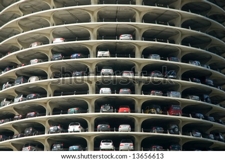 Marina City Tower Parking Deck Levels in Chicago, Illinois - stock photo