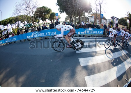 MARINA DI CARRARA, CARRARA, ITALY - MARCH 09: Team ag2r la mondiale during the 1st Time Trial stage of 2011 Tirreno-Adriatico on March 09, 2011 in Marina di Carrara, Carrara, Italy - stock photo