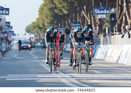 MARINA DI CARRARA, CARRARA, ITALY - MARCH 09: Team Sky Procycling during the 1st Time Trial stage of 2011 Tirreno-Adriatico on March 09, 2011 in Marina di Carrara, Carrara, Italy - stock photo