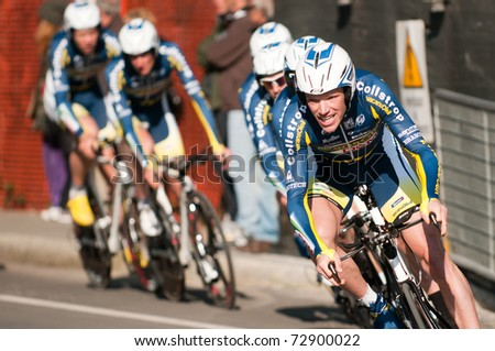 MARINA DI CARRARA, CARRARA , ITALY - MARCH 09: Team Vacansoleil - DCM Pro C. Team during the 1st Time Trial stage of 2011  Tirreno-Adriatico on March 09, 2011 in Marina di Carrara, Carrara, Italy - stock photo