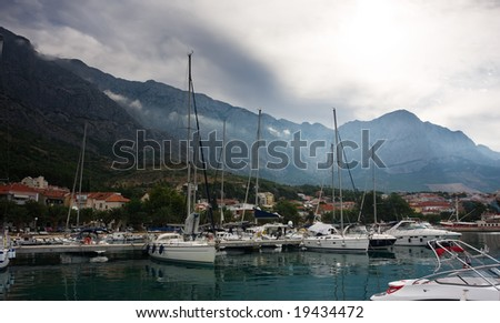 marina in croatian town at sullen day