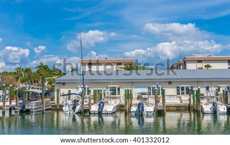 Marina in Southwest Florida along the Intracoastal Waterway.  - stock photo