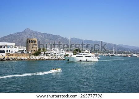 Marina in summer Puerto Banus in Spain - stock photo