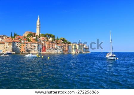 Marina of an old Venetian town near the Adriatic sea, Rovinj, Croatia - stock photo