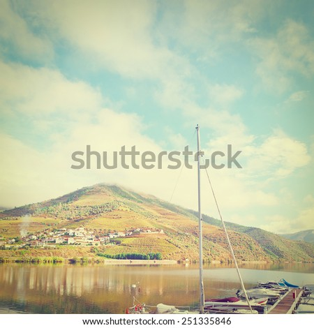 Marina on the Background of the Vineyards in the Valley of the River Douro, Portugal, Instagram Effect - stock photo