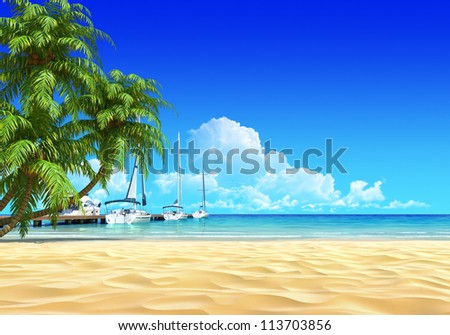 Marina pier and palms on empty idyllic tropical sand beach. No noise, clean, extremely detailed 3d render. Concept for rest, yachting, holidays, resort, spa design or background. - stock photo