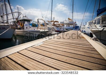 Marina with anchored boats - stock photo