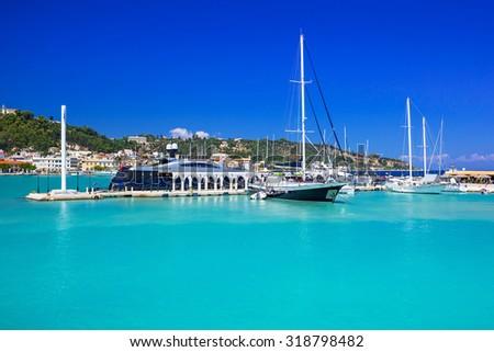 Marina with boats on the bay of Zakynthos, Greece - stock photo