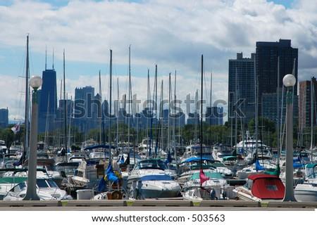 Marina with Chicago Skyline - stock photo