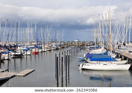 Marina with Sailing Boats. Pier with yachts in Northern Germany, Kiel - stock photo