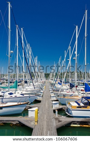 Marina with yachts and boats in Sausalito San Francisco, CA - stock photo